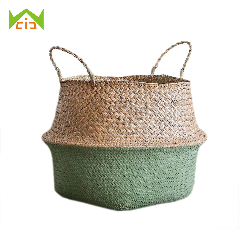 WCIC Flower Storage Basket Rattan Straw Basket Wicker Seagrasss Folding Flower Pot Home Storage Basket Pot Planter Organization