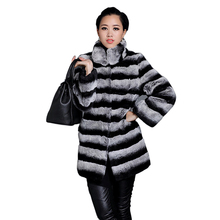 Fashion Women Real Fur Coats Rex Rabbit Fur Jackets Long Outwear Warm Overcoat Full Sleeves Winter Parka AU00805