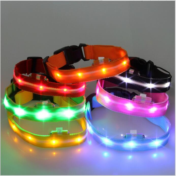A22 Dog Collar For Dogs Nylon Night Safety Glow Flashing Light Up Luminous Puppy Necklace luminous dog collar
