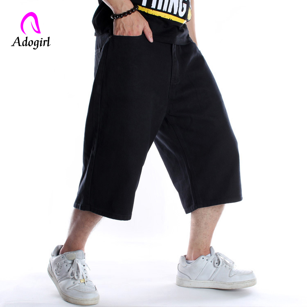 2019 Men Wide Leg Denim Pants Hip Hop Black Casual Short Jeans Trousers Baggy Jeans For Rapper Skateboard Shorts Jeans Joggers