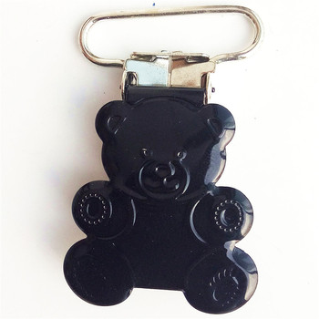 200pcs/lot 25mm baby accessories ted bear stainless pacifier clips metal black suspender clip wholesale