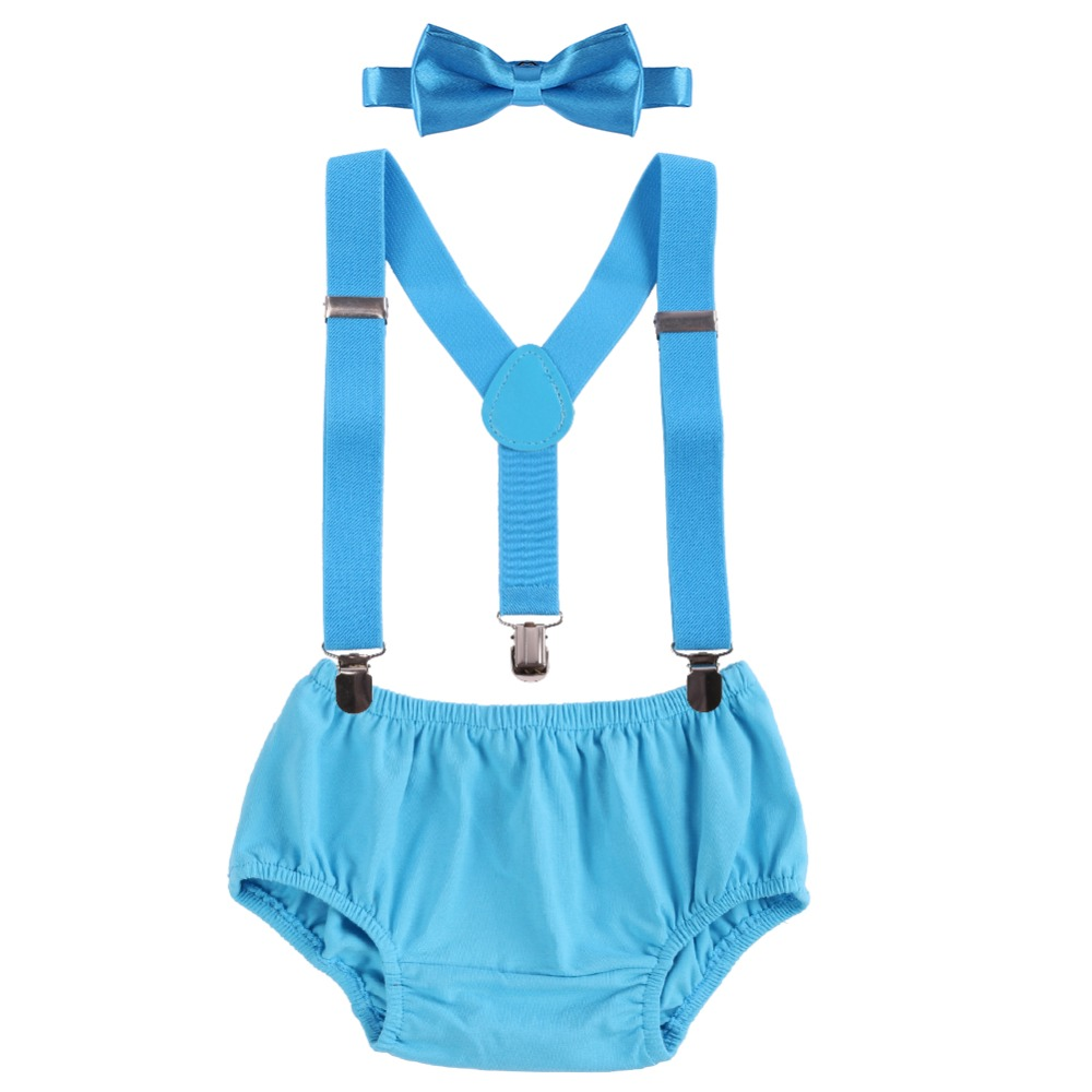 Baby Boys 1st Birthday Cake Smash Outfits Suspenders Bowtie Photo Props 3-24M