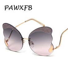 PAWXFB 2019 New Butterfly Sunglasses Women Luxury Fashion Designer Glitter Decoration Glasses High Quality Rimless