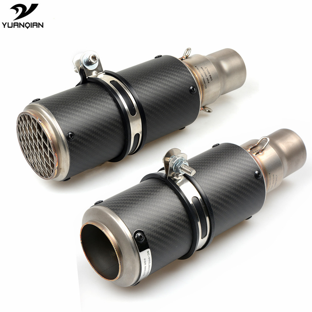 51mm 61mm Motorcycle Exhaust Pipe Scooter Sport Moto Modified Muffler Pipe For Yamaha YZF R125 R3 R6 MT03 MT 03 MT07 FZ1000
