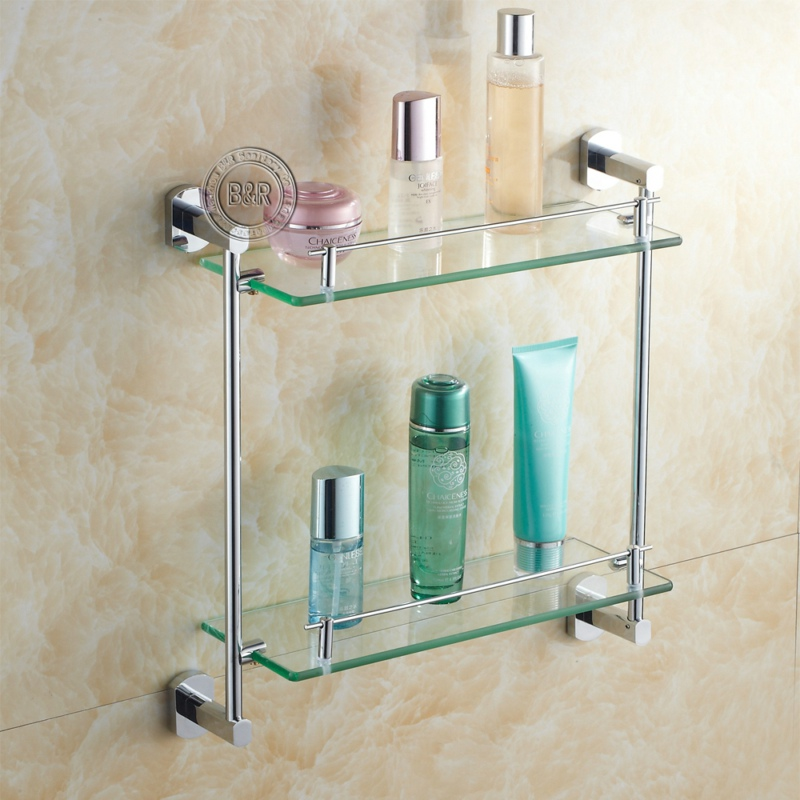 free shipping bathroom accessories products bathroom shelf solid brass chrome finished dual tier glass shelf b 16011 in bathroom shelves from home - Bathroom Accessories Glass Shelf