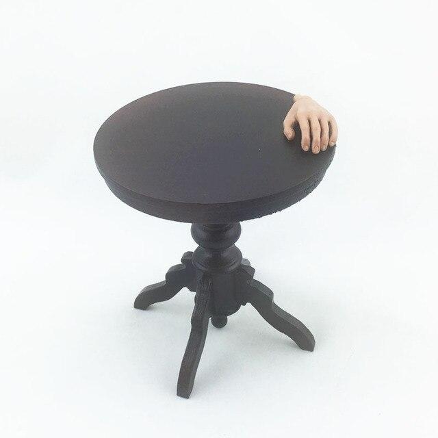 Woodenface Dark Wood Little Round Table Furniture Scene 1/6 Scale Model /  In