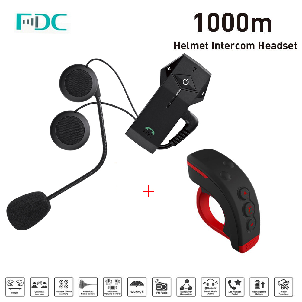 FDC Colo1000M Moto Casque Bluetooth Intercom Interphone Casque Intercomunicador avec NFC FM Fonction + L3 Télécommande