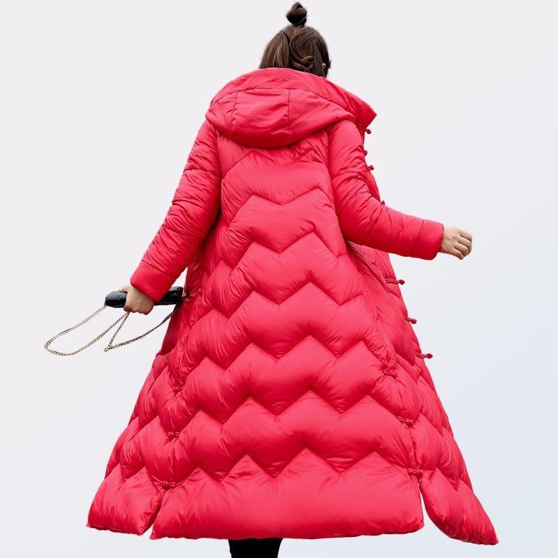 Parka Mujer Abrigos Pour D'oie Long Noir Col rouge D'hiver Manteau Avec Invierno Parc Femmes Veste Femelle Noir Rouge rhodo De Plume La En fwavRPx