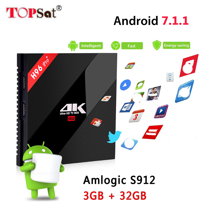 2018 New H96 PRO plus smart Android 7.1 3G 32G ROM TV Box Bluetooth 4.1 HD 4K media player Amlogic S912 Octa Core Set top Box akaso h96 pro plus amlogic s912 octa core 2g 16gb android 7 1 tv box wifi 4k bluetooth hd media player bt4 1 smart set top box