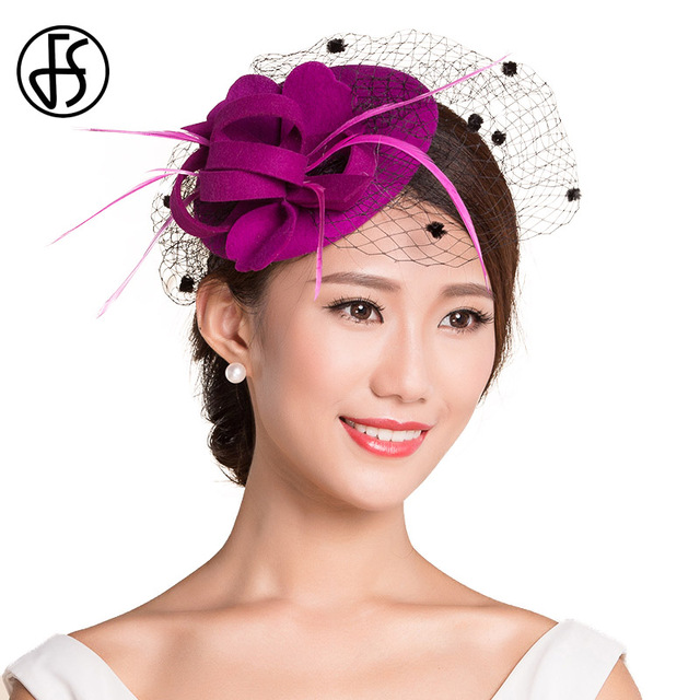 4fe49dbccf8 FS Winter Elegant Flower Fedora For Women Purple Classic Church Veil  Pillbox Hat Floral Wool Felt Cocktail Party Hats Fascinator