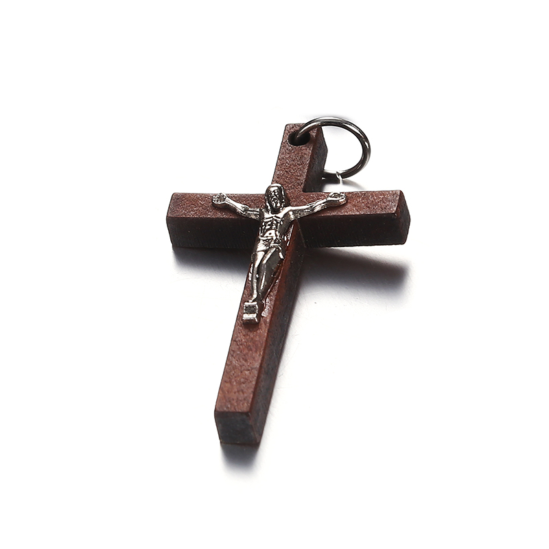 100pcs 50*32MM Catholic Wooden Cross Jesus Charms For Jewelry Making DIY Accessories Jesus Christian Wood Cross Charms Pendants-in Charms from Jewelry & Accessories