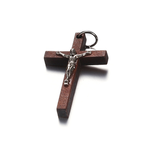 Image 1 - 100pcs 50*32MM Catholic Wooden Cross Jesus Charms For Jewelry Making DIY Accessories Jesus Christian Wood Cross Charms Pendants