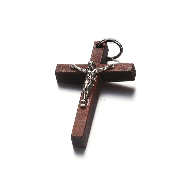 100pcs 50*32MM Catholic Wooden Cross Jesus Charms For Jewelry Making DIY Accessories Jesus Christian Wood Cross Charms Pendants