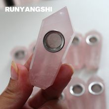 цена на Pink Small Smoking Pipe Natural Stones and Minerals with Strainer High Quality 1 Pc Smoke Pipe Wholesale Factory Runyangshi MF03