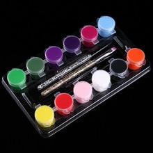 12colors/set Nail Art Pigment + 2 Brush Pen Manicure Set UV Gel Polish Pigment 3D DIY Drawing Painting Colorful Decoration Tools
