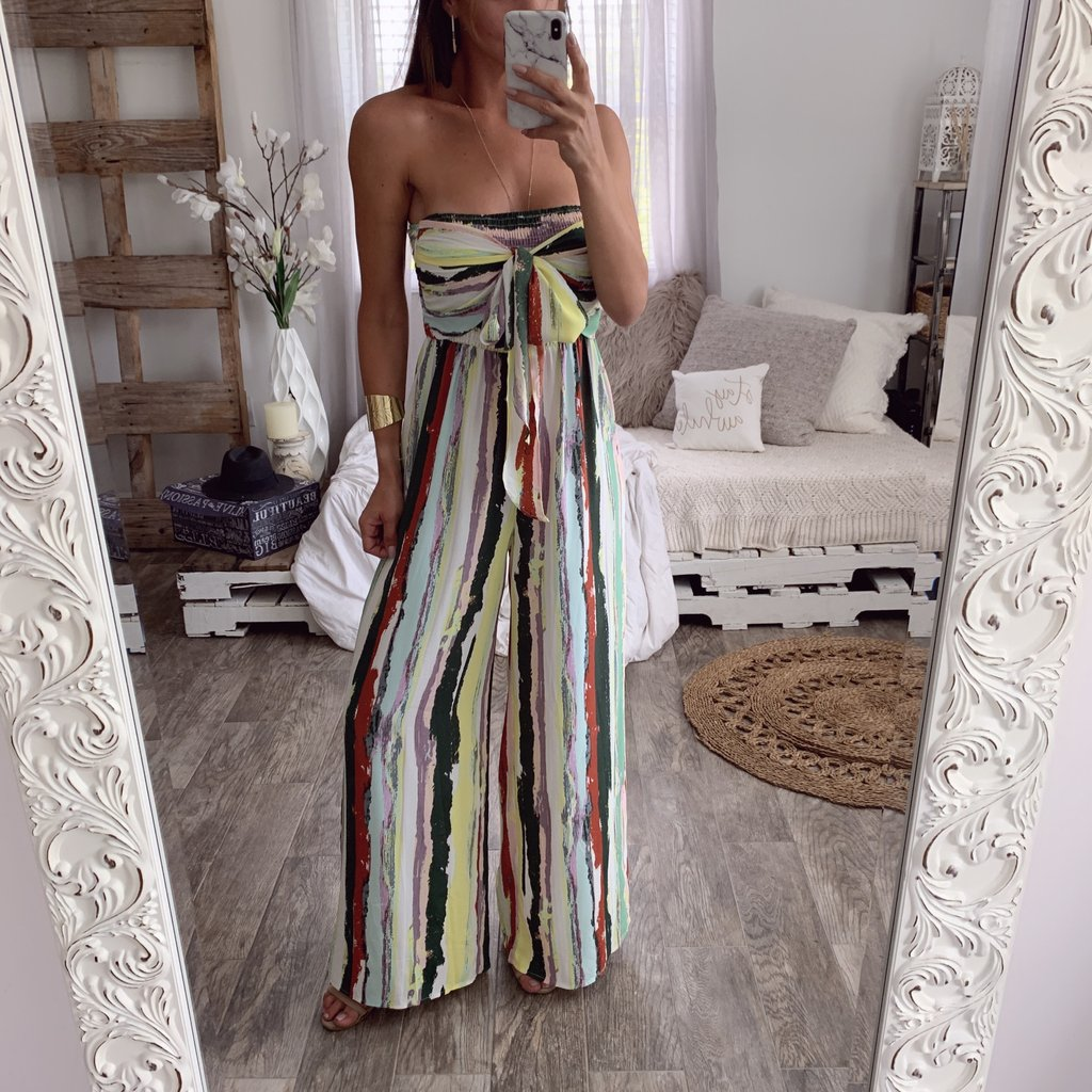 Womens Strapless Striped   Jumpsuit   Ladies Summer Casual Sleeveless Bandage Romper Wide Leg   Jumpsuits   Beach Wear Woman Clothes