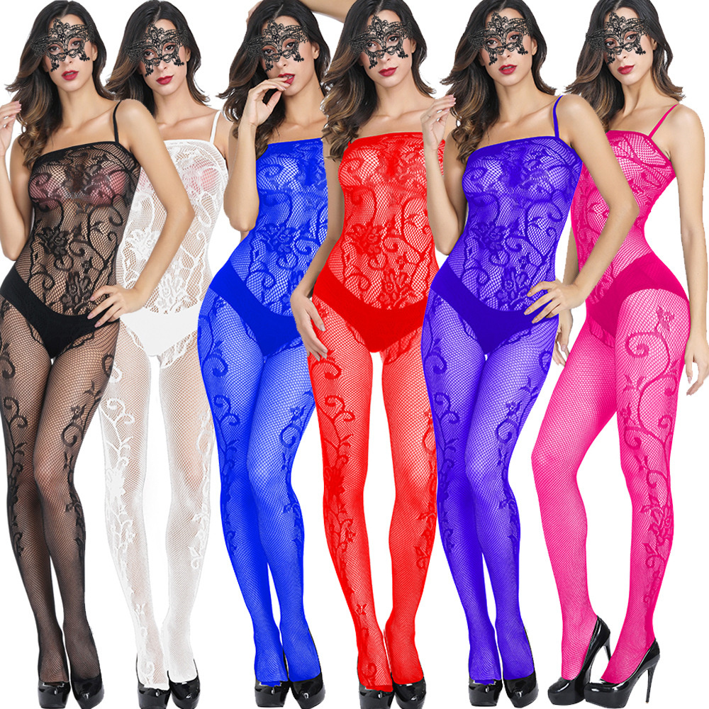 Women Sexy Catsuit Bodystocking Lingerie One Piece Fishnet Sheer Mesh Bodysuit Crotchless Sexy Pakjes Body Stocking 187