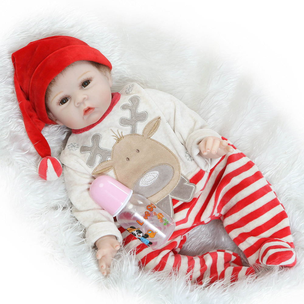 цена 55cm Soft Body Silicone Reborn Baby Dolls Toy For Girl Brinquedos Lifelike Newborn Boy Babies Doll Christmas Gift Clothes Model