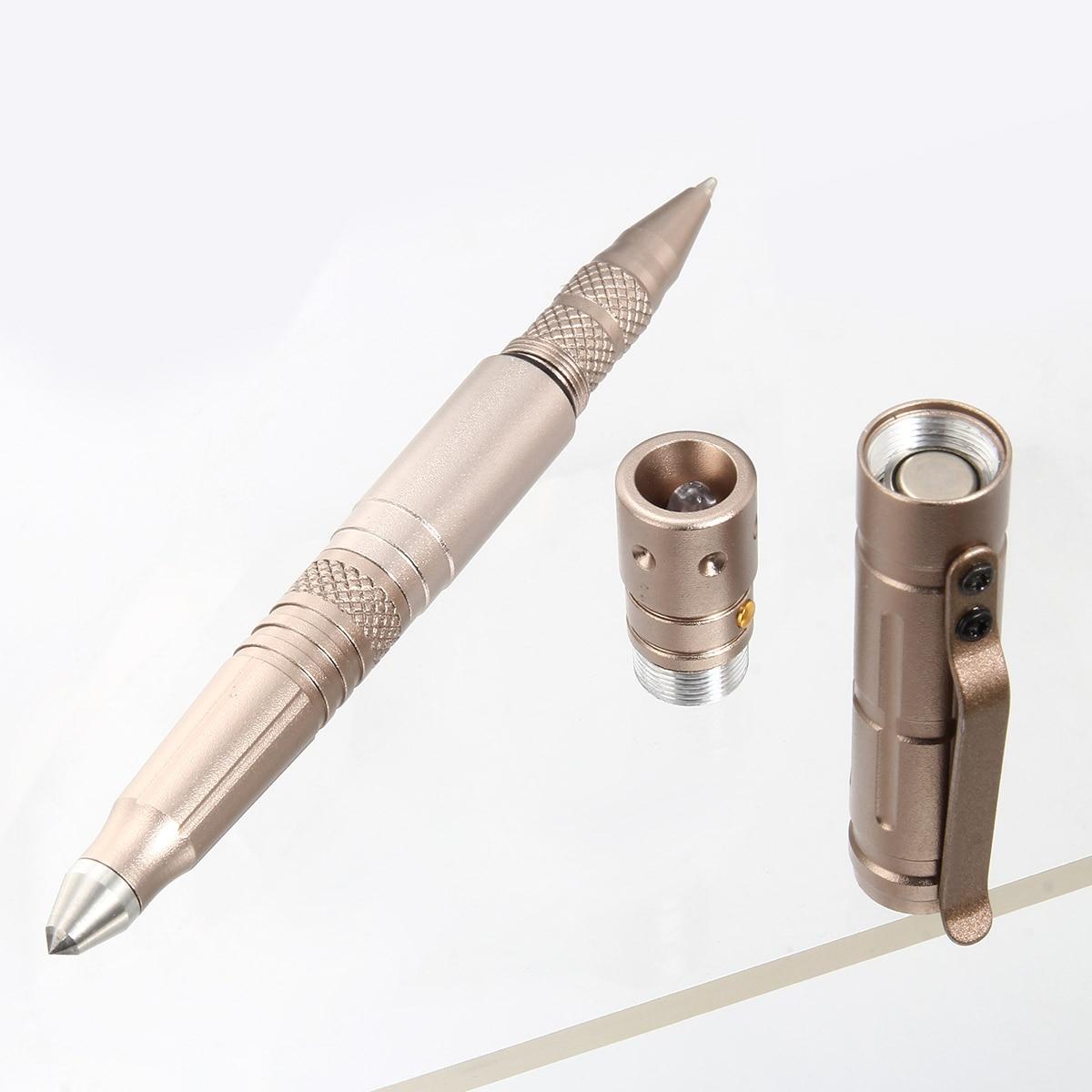 Купить с кэшбэком Multi-function Tactical Pen Survival Military LED Flashlight Glass Breaker Self Defense Tool Ballpoint Pens SGA998