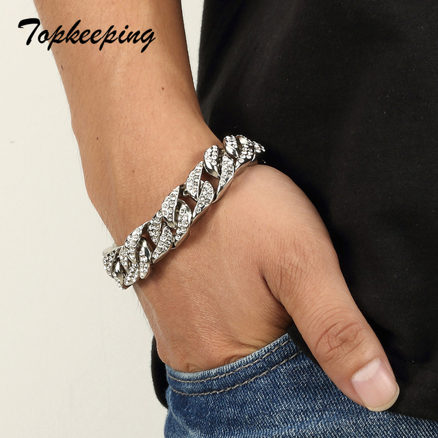 Mens Luxury Gold Color Iced Out Rhinestone Fashion Bracelets & Bangles Miami Cuban High Quality Link Chain Bracelet for Hip Hop 2