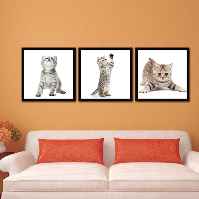 3 pieces animal cute cat wall art picture home decoration living
