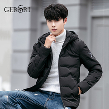 Gersri Winter Spring Cotton Padded Hooded Jacket Men Thick Hoodies Parka Coat Male Quilted Casual