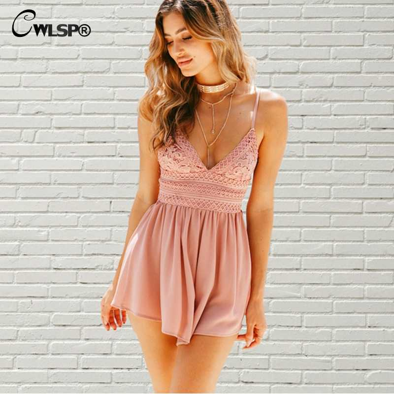 23f969d6b8b CWLSP Bow Backless White Pink Mono Print Lace Playsuit for Lady Summer Sexy  Loose Bodysuits Women