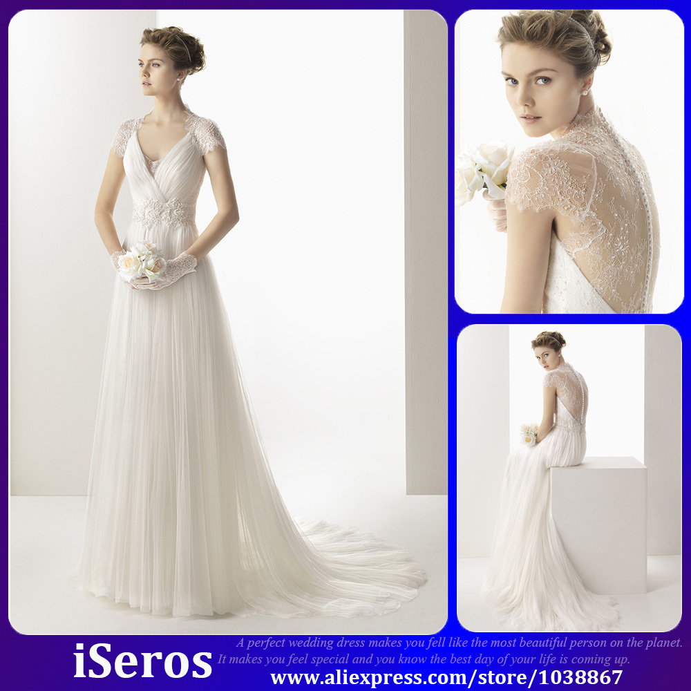 2015 Greek Style Elegant White Lace Illusion Beaded Cap Sleeves A ...