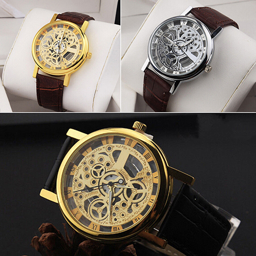 2017 Hot Sale Unisex Vintage Hollow Roman Numeral Dial Leather Band Wrist Watches Skeleton Men's Women's Quartz Wristwatch Gift
