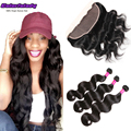 Indian virgin hair ear to ear lace frontal closure with 3 bundles body wave virgin hair with full lace front rosa hair products