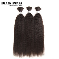 Black Pearl Pre Colored Yaki Straight Human Hair Bundles Remy Brazilian Hair 3 Bundles Braiding Hair Extenions Braids Hair Deal