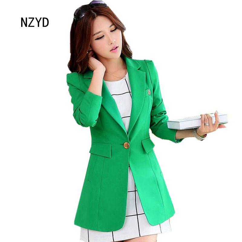 2017 Latest Spring/Autumn Fashion Women Blazers Elegant A button Medium long Coat long sleeve Slim Big yards Female Suits NZ205