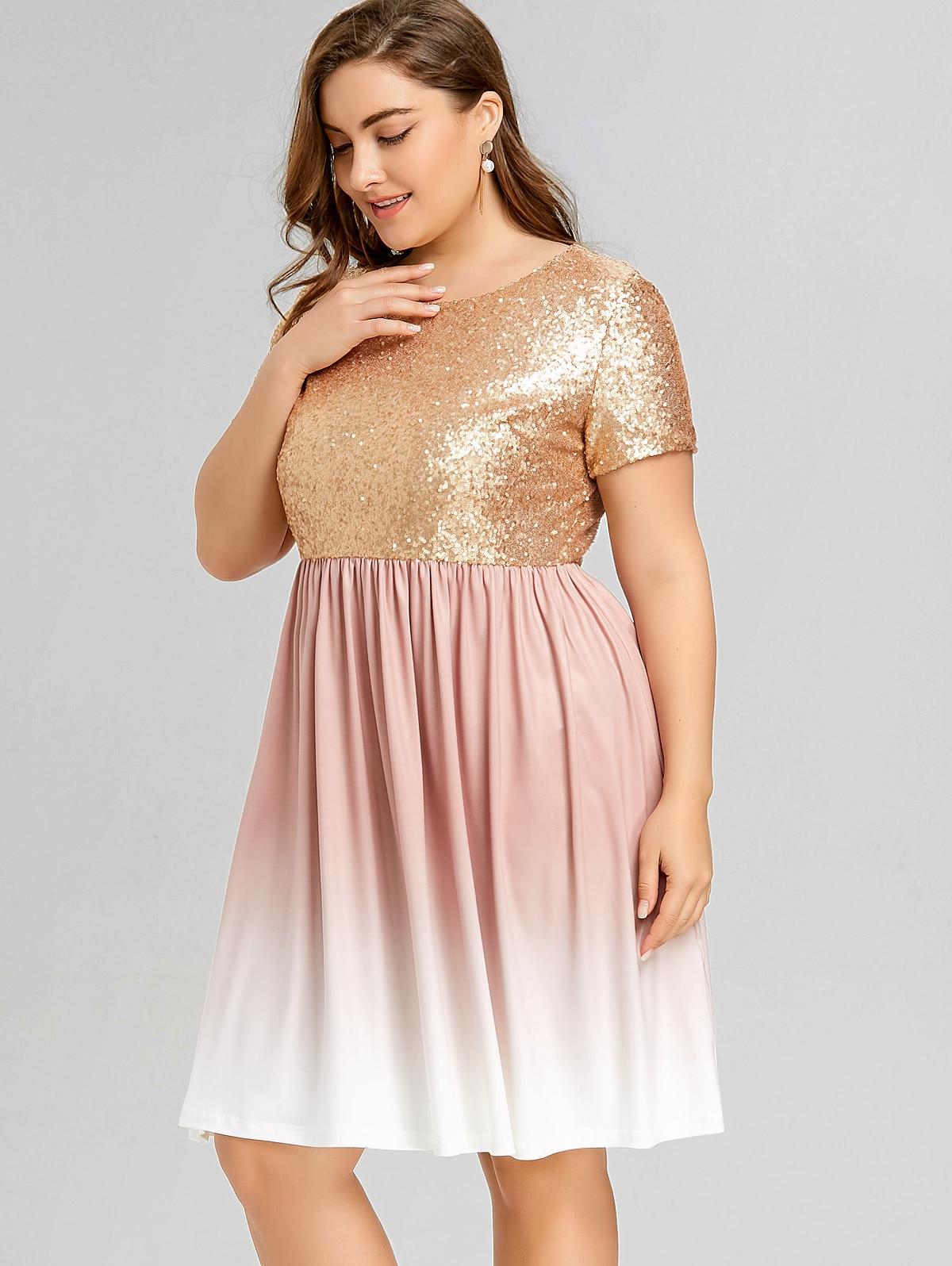 Fein Plus Größe Pailletten Partykleid Fotos - Hochzeit Kleid Stile ...