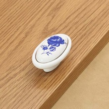 kitchen cabinet knob pull handle blue flower ceramic drawer knob pull white dresser cupboard furniture door handles pulls knobs