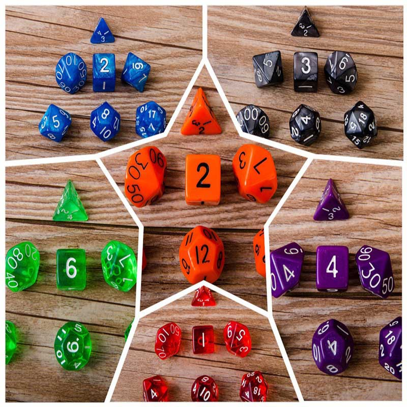 New Arrival Fashion Home Decoration Ornaments 7pcs Multi Colors Acrylic Antique Dice For Entertainment Toys