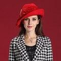 2017 Mujeres de La Vendimia de Lana Sombrero de Fieltro Cocktail Boda de La Iglesia de Derby Vestido de Partido de tarde de Ala Ancha Dom Casquillo Gorros Boina Invierno caliente