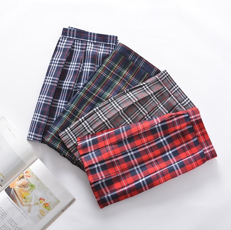 Plaid Skirt Girls Red Plaid Dress Pleated Skirt Uniform Scottish