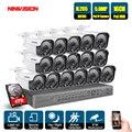 NINIVISION 16CH система видеонаблюдения 16 шт. 5.0MP наружная камера безопасности с защитой от атмосферных воздействий 16CH 5MP NVR система ночного видени...