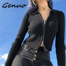 Genuo New 2019 Women Autumn Ribbed Zipper Sweaters Navel Bare Crop Tops Cardigan Long Sleeve Turn Down Collar Mujer Sweater
