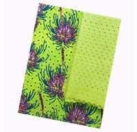 New hot selling green African Nigerian wax fabrics + 2 yards Swiss lace fabrics, high quality Nigerian wax fabrics FF37D59