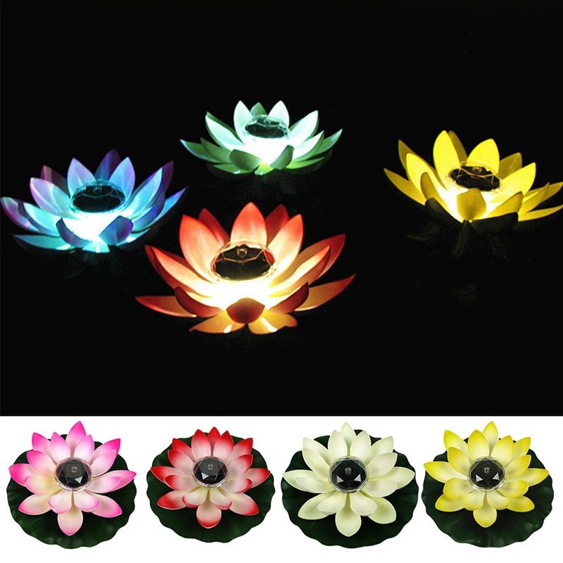 LED Lotus Flower Solar Powered Lamps Floating Flower Pond Tank Light Ornament Party Garden Decoration