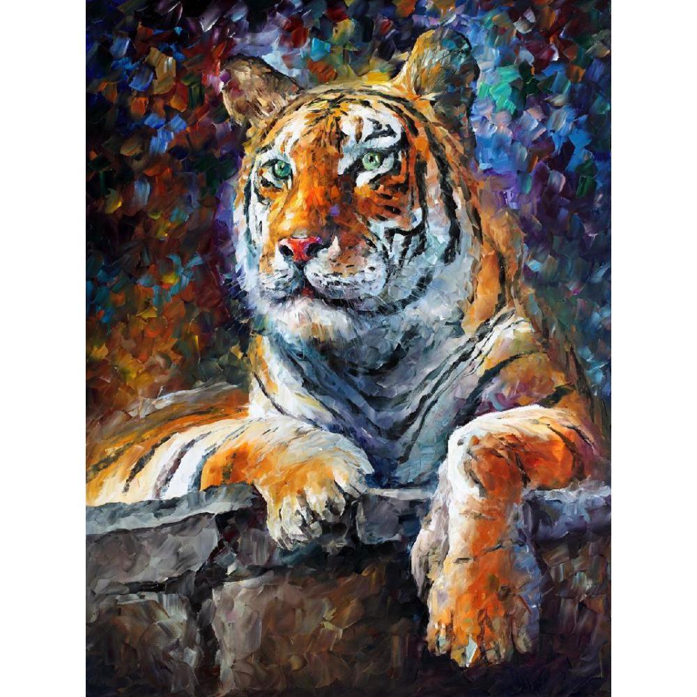 Peint à la main Palette couteau peinture Animal sibérien tigre art moderne huile sur toile pour décor de chambre