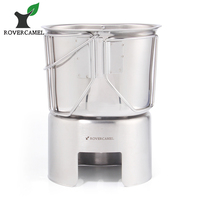 Rover Camel Outdoor 304 Stainless Steel Army Edition Cup Lunch Box With Hanging And Wood
