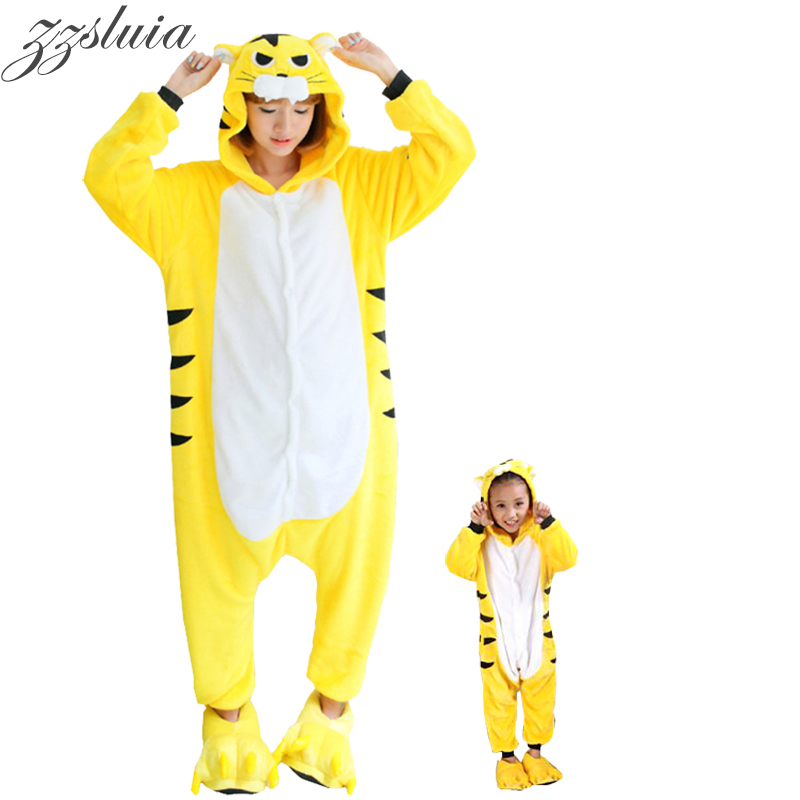 premier coup d'oeil mode de vente chaude chaussure All in One Couple Flannel Anime Pijama Cartoon Cosplay tiger ...