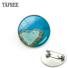 TAFREE Great Barrier Reef In Australia Art Brooch Pins Heart Shape Island Picture Badges Jewelry FA526(China)