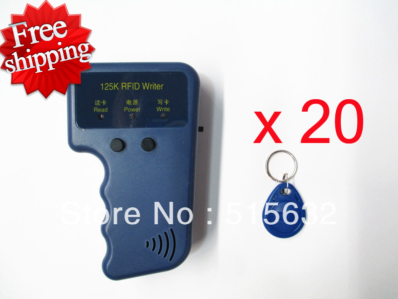 RFID Reader Writer 125KHz ID Card Keyfob duplicator Duplicate/Copy Door System + 20 EM4305 Key Fobs