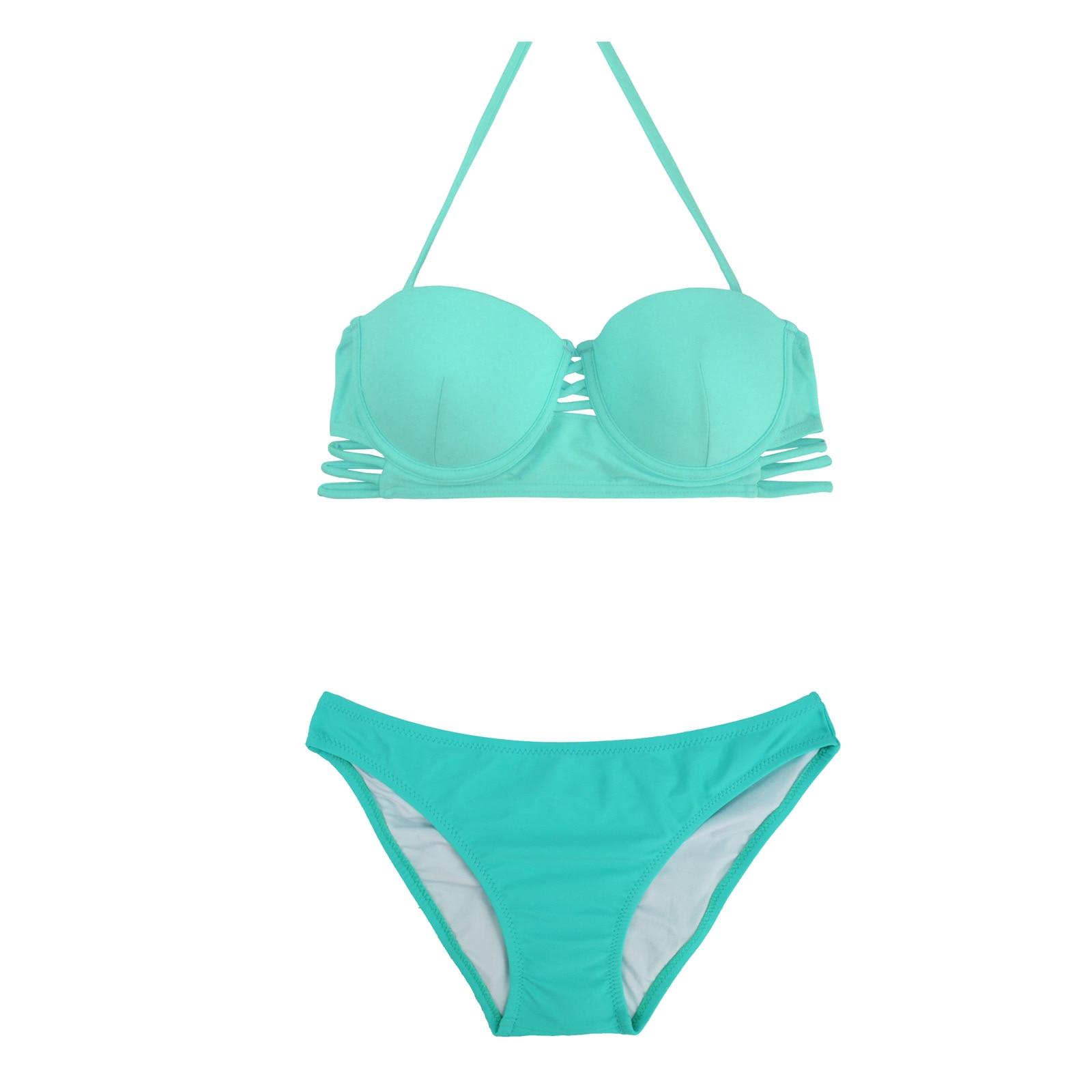 Low Waist Cutout Bikini Set 2016 Brazilian Halter Strappy Bathing Suit Push Up Swimwear Female Swimming For Women Beachwear
