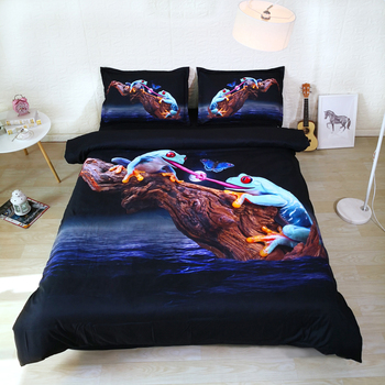 3PCS Per Set Cute Tongue tied blue frogs and butterfly 3d bed linen set