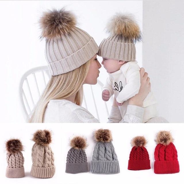 1ae536f0941 1 Set 2Pcs Women Mother Baby Child Warm Winter Knit Beanie Fur Pom Hat  Crochet Ski