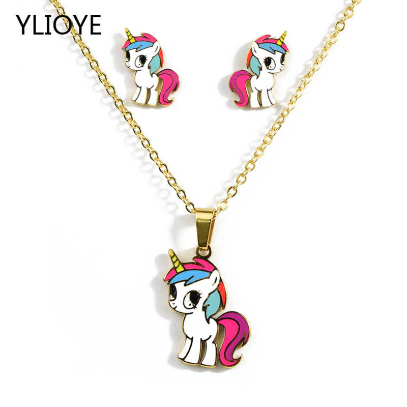 Cartoon Cute Pink Horse/Unicorn/yellow duck/dog/panda/lion/KT cat Gold Color Necklaces earring Fashion Jewelry Set Kids Gift